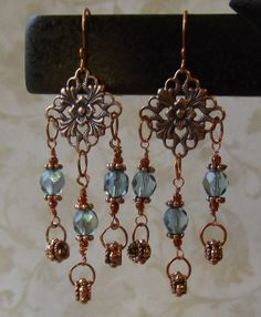 Antiqued copper and blue crystal wire wrap dangle earrings Brown and blue chandelier earrings Beaded jewelry Women's jewelry gift idea Gemstone Jewelry, Beaded Jewelry, Handmade Jewelry, Women's Jewelry, Wire Jewelry Designs, Jewelry Crafts, Jewelry Logo, Blue Chandelier, Chandelier Earrings