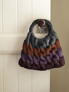 Cable bag from Lionbrand knit in a super bulky yarn so will knit up quickly!  FREE pattern via Ravelry
