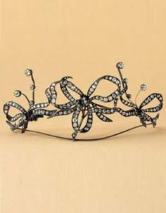 An antique silver and diamond hair ornament, 19th century. #antique