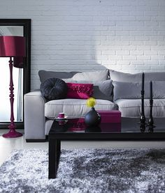 Magenta Standing Lamp Black Coffee Table Grey Sofa Grey Rug