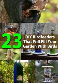 23 DIY Birdfeeders That Will Fill Your Garden with Birds. Cute Ideas here! http://www.diyncrafts.com/3515/home/23-diy-birdfeeders-will-fill-garden-birds/10