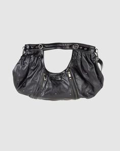 Large shoulder bag with arm cut-out, buckles, front zip pockets
