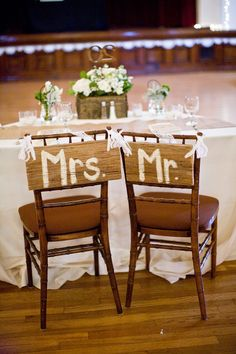 signs for Mr and Mrs  Rustic Santa Barbara Wedding