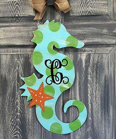 Look what I found on #zulily! Aqua Initial Seahorse Door Hanger #zulilyfinds