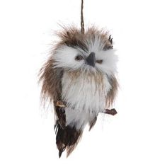 "RAZ Flat Backed Hanging Feathered Owl Christmas Ornament  Brown Made of Polyfoam/Feather Measures 6.5"" Flat Backed  From the ""Telluride Sleigh Ride"" collection of RAZ Imports."