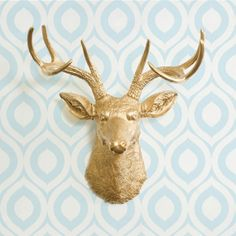The Virginia in Gold - Faux Deer Head - Fake Animal Resin Ceramic Taxidermy Decorative Stag Antler Wall Mount Fauxidermy Replica Decor Buck on Etsy, $84.97
