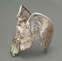 Art Nouveau silver owl bracelet
