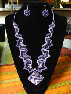 Amethyst Stars and Stripes macrame necklace and earrings set   indivijewels - Jewelry on ArtFire