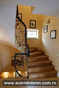 scara interioara din lemn - balustrada - mana curenta lemn curbat Iron Stair Railing, Stairs, Home Decor, Stairway, Decoration Home, Room Decor, Staircases, Home Interior Design, Ladders