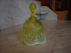 Vintage Fenton Lily of the Valley Opalescent Vaseline Bell