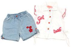 Jeansshorts & Bluse für Baby Mädchen in Gr. 80