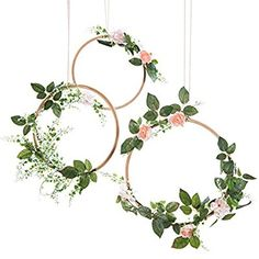 Amazon.com: Ling's moment Summer Greenery Wedding Handcrafted Vine Wreaths Set of 3, Christmas Decor Rustic Wedding Backdrop, Artificial Roses Plant Flower Garland, Woodland Wedding decoration Floral Hoop: Home & Kitchen