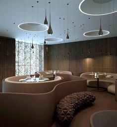 Interior design for twister restaurant with unique furniture