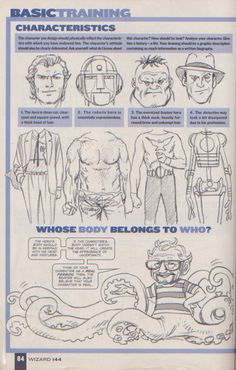 Scan from Wizard Magazine 144. Basic Training: Part 3 of 6 Joe Kubert shows how to draw characters p84.