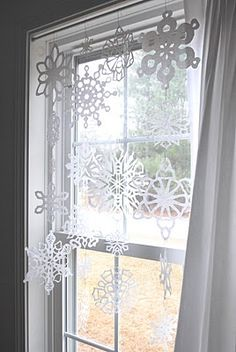 Paper snowflakes in the window.