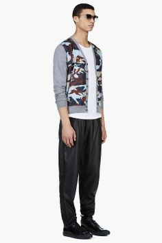 DSQUARED2 Grey Camo Print Panel Cardigan / Styled with BLK DNM White classic 20 t-shirt,  DAMIR DOMA Black LEATHER PALUS Trousers,  ACNE STUDIOS BLACK PATENT leather SNEAKERs,  KSUBI Pale Seafoam Indus Sunglasses.