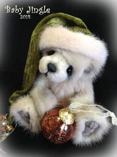 Meet Baby Jingle - a Real Mink fur cub by teddy bear artist Jenea Ivey - for sale on ebay