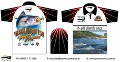 Custom Fishing shirts for you fishing club. Full-colour images printed on our sublimation fishing shirts will make your tournament one remember. Custom Fishing Shirts, Fishing Tournaments, Fish Design, The Incredibles, Australia, Logos, A Logo, Fish Drawings, Australia Beach