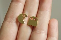 Golden Pac man Post Earrings Pac man Studs by meytalbarnoy on Etsy, $27.00