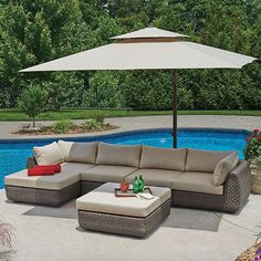 x 10 Ft. Square Cantilever Umbrella with Protective Cover - Sam's Club Outdoor Seating, Outdoor Spaces, Outdoor Living, Outdoor Decor, Outdoor Ideas, Patio Umbrella Stand, Patio Umbrellas, Pergola Shade, Pergola Patio