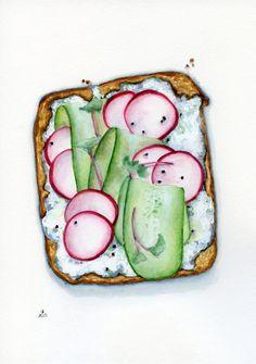 ORIGINAL Painting - Summer open sandwich  (Food Watercolours Wall Art, Still Life, Kitchen Garden)