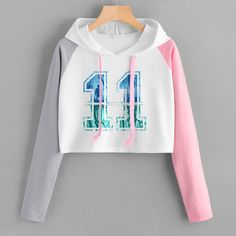 Womens Cropped Hoodie,Funny Flying Mammal with Colorful Balloons and Party Hat Comic Art,S-XL