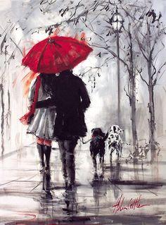Love under an umbrella, from a painting by Australian artist Helen Cottle. Art And Illustration, Illustrations, Rain Painting, Painting & Drawing, Couple Painting, Knife Painting, Love Painting, Art Amour, Umbrella Art
