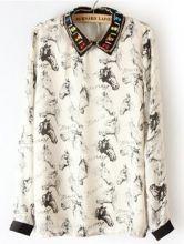 #SheInside White Rhinestone Chain Embellished Horsehead Print Blouse $31.94