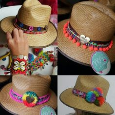 SOMBREROS DECORADOS ❤beautiful hat decorated with weave Wayuu  ♡ sombrero de…