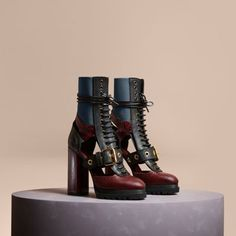 Leather and Snakeskin Cut-out Platform Boots Burgundy Red