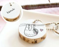 PERSONALIZED Keychain Sloth Birthday Gift Name Initials Monogram Cute Animal Drawing Custom Handmade Reclaimed Wood ECO FRIENDLY Keyring