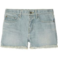Saint Laurent Mid-rise cut-off denim shorts ($750) ❤ liked on Polyvore