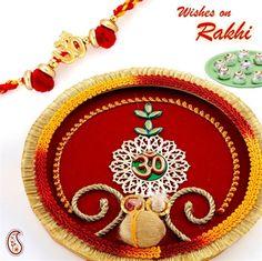 Ghasitaram Gifts Rakhi for Brother Silver Metal Look Pooja Thali with Red Pearl Rakhi
