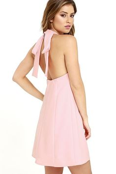 Any celebration can be made better by the Viva La Vida Blush Pink Backless Swing Dress! Woven fabric shapes a halter neckline that fastens at back with hook-and-eye closures, beneath a modified bow. Open back has cinching elastic while the swing silhouette gently flares at the hem.