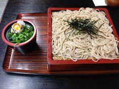 Soba, with sliced leek and a quail's egg #japan #food