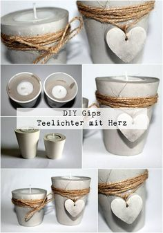 DIY plaster / concrete tealight holder with a heart just make yourself - DIY Deko - DIY plaster / concrete tealights with heart + instructions: DIY, crafts, DIY, craft ideas, decorati - Concrete Crafts, Concrete Projects, Diy Projects, Creation Bougie, Diy Para A Casa, Diy Plaster, Concrete Candle Holders, Concrete Furniture, Creation Deco