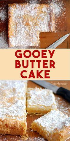 Gooey Butter Cake is a St. Louis tradition, where the cake becomes the crust and. - Gooey Butter Cake is a St. Louis tradition, where the cake becomes the crust and. Gooey Butter Cake is a St. Louis tradition, where the cake becomes. Dessert Dips, Best Dessert Recipes, Fun Desserts, Dessert Table, Delicious Recipes, Recipes Dinner, Easy Bake Desserts, Tasty, Homemade Desserts
