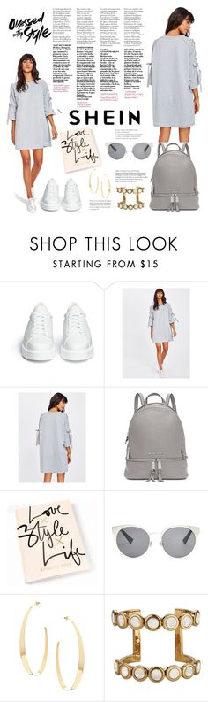 """""""Ribbon Lace Up Raglan Sleeve Marled Tee Dress"""" by manuel-s ❤ liked on Polyvore featuring Robert Clergerie, Michael Kors, Christian Dior and Lana"""
