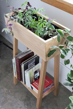 White Oak Indoor Planter: would be awesome for an indoor herb garden!