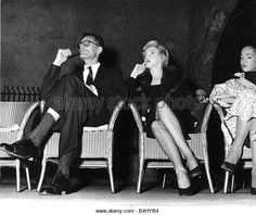 Marilyn Monroe Film Actress with husband Arthur Miller attend a meeting at the Watergate Theatre September 1956 - Stock Image