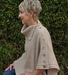Best 12 Miriam Carole Poncho No more messy hair! Miriam Carole buttons across the shoulder with a linen stitch panel and has new innovative vertical buttonholes that are simple to knit with no casting off or casting on and will not gape. Poncho Knitting Patterns, Knitted Poncho, Linen Stitch, Knit Picks, Short Hair Cuts For Women, Messy Hairstyles, Curly Hair Styles, My Style, Older Women