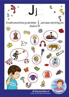 Pakket over de letter j blad 8, waar hoor je een j, antwoorden, letters aanbieden aan kleuters, kleuteridee, free printable.