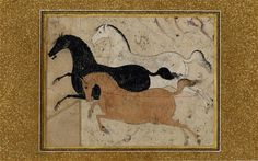 Three horses galloping across a bare landscape. The chestnut horse has a lasso round its neck and white horse has one round its hind legs. From mid-16th century, Persian. Tahmasb I, of royal house Safavi, would have been Shah in the region at this time. Photo: Copyright the Trustees of the British Museum.  The Horse, at British Museum, Seven magazine review.  This is an enjoyable 4,500-year ride through the history of the horse in art.