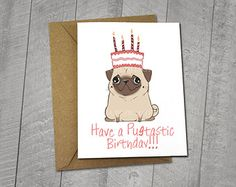 Party Pug Birthday Card  Approximately 5 x 7 Blank Card with