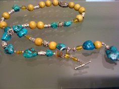 turquoise, wood, silver & citrine necklace with sterling clasp