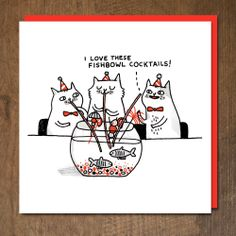 'Cocktail Cats' card from the Four Eyes range from Gemma Correll. Published by Urban Graphic.