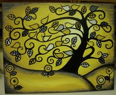 Your place to buy and sell all things handmade Unique Paintings, Tree Paintings, Shades Of Gold, Color Themes, Colors, Custom Paint, Color Show, Clear Acrylic, Birds
