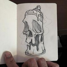 A sketch of a writer's weapon. 2I6 Graphite on paper ---------------------------------------------------- #clogtwo #inkandclog #graffiti #sketch #sketchdaily #skuhl #skull #killtwosucceed #zncpride #prayforsggraff #architecgraff by clog_two