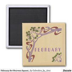 February Art Nouveau Square Magnet