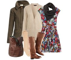 Dress + Layers + Boots = perfect winter outfit.